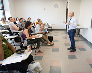 A professor teaches a class.