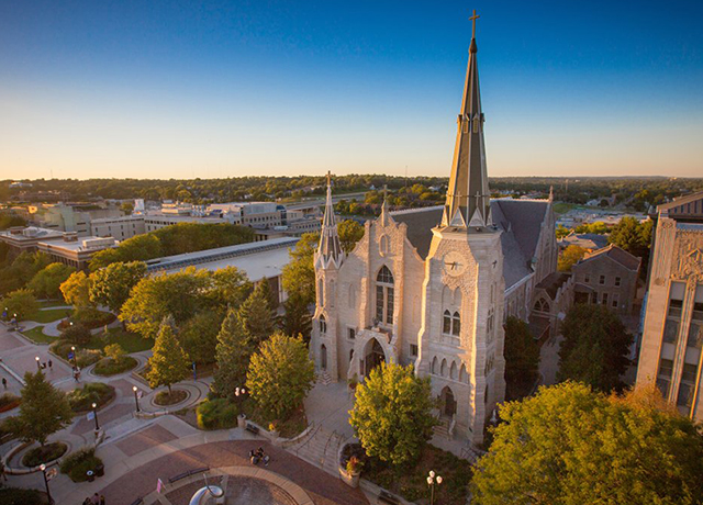 Aerial view of St. John's Church on Creighton University's campus