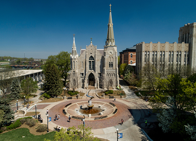 Creighton University campus and St. John's Church