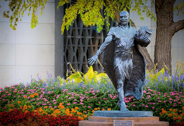 Statue of St. Ignatius of Loyola on Creighton's campus