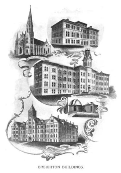 Sketches of Creighton's historical buildings