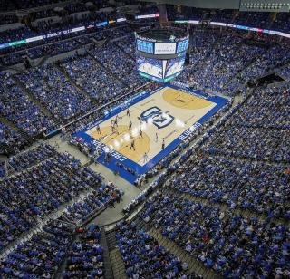 Overhead shot of a packed Creighton men's basketball game at the CHI Health Center Omaha.