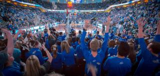 fans and students at Creighton University basketball game showing their spirit