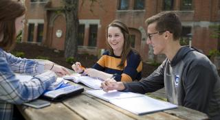 Students studying in the Jesuit Gardens