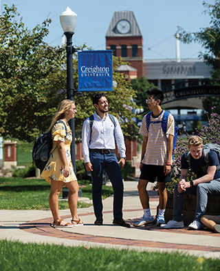 Students on campus talking